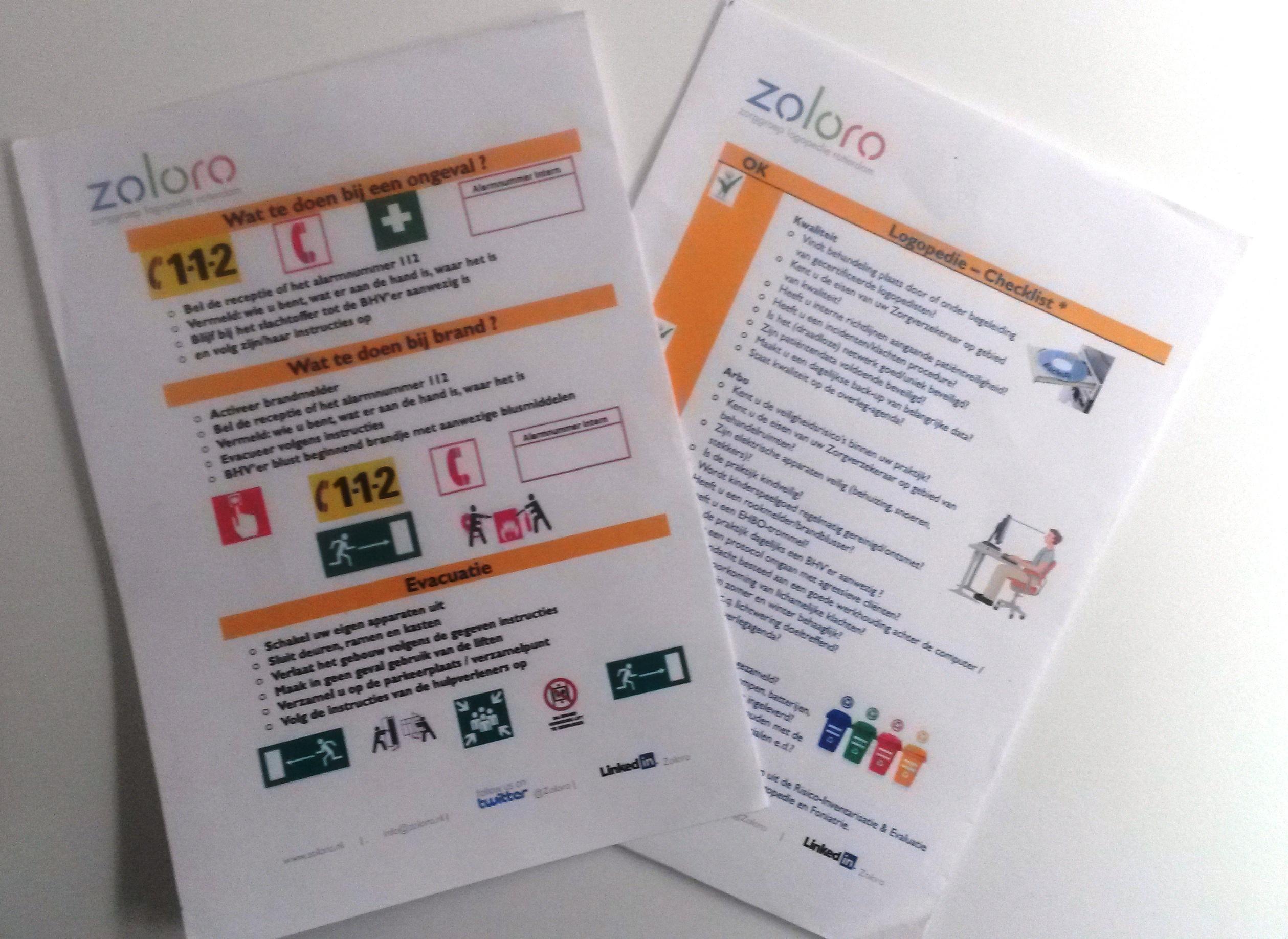 een BHV kaart en RIE checklist