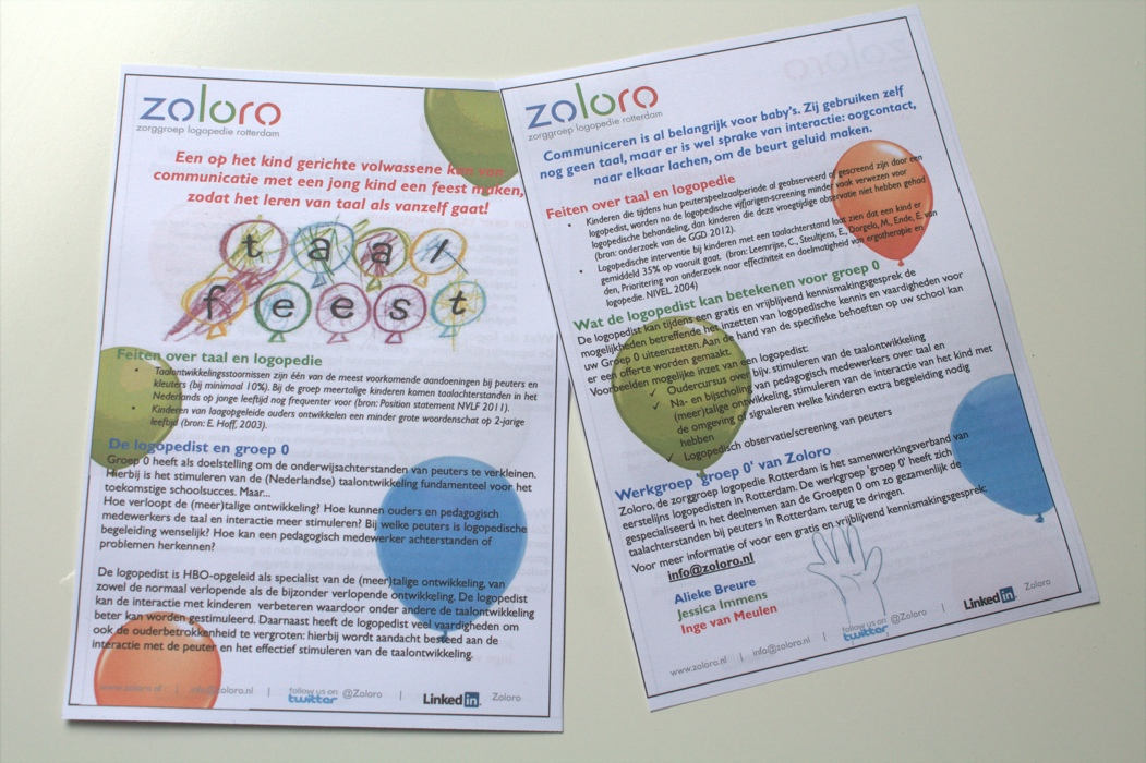 Deze flyer is uitgedeeld aan bezoekers van de stand van TOLK en Zoloro op de ouderbetrokkenheidsmarkt.